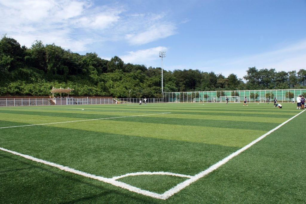 An outdoor artificial soccer pitch.
