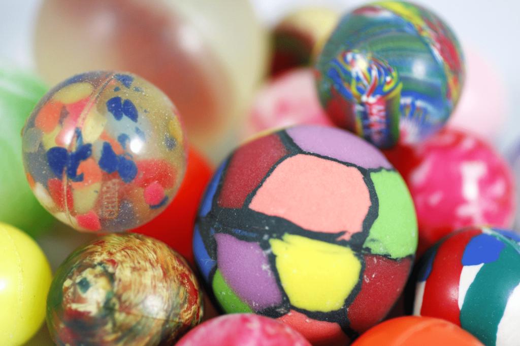 Assorted bouncy balls.