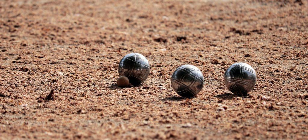 Metal bocce balls.