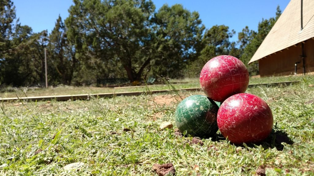 A bocce ball set.