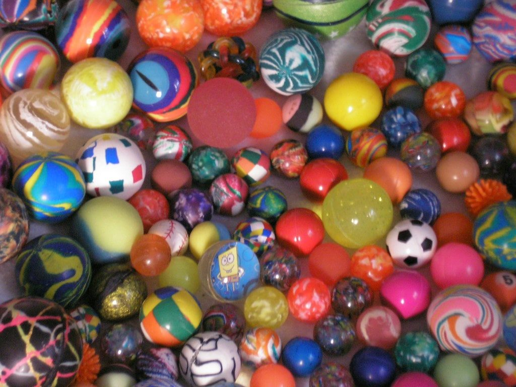 Bouncy balls on the ground.