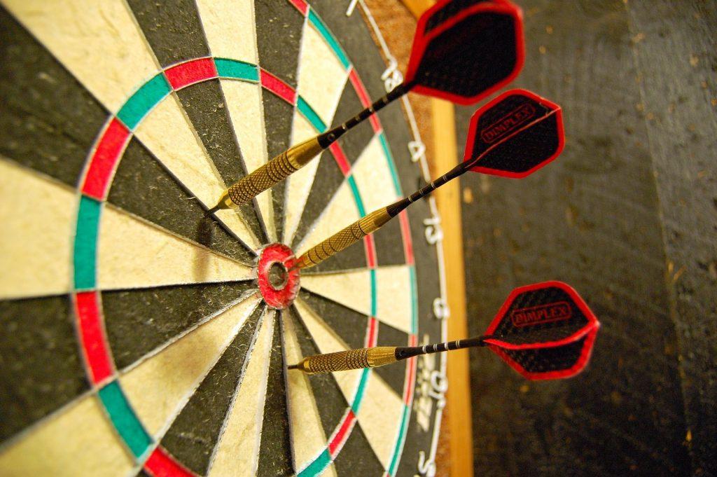 Bristle dartboard low angle shot.