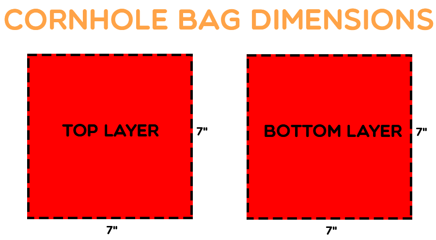 Duck cloth cornhole bag dimensions.