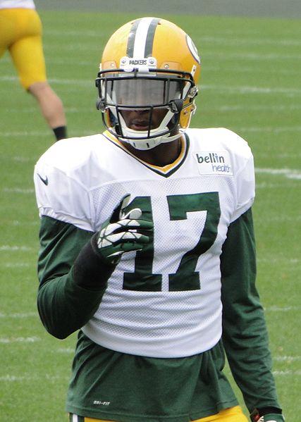 Davante Adams wearing a clear football visor.
