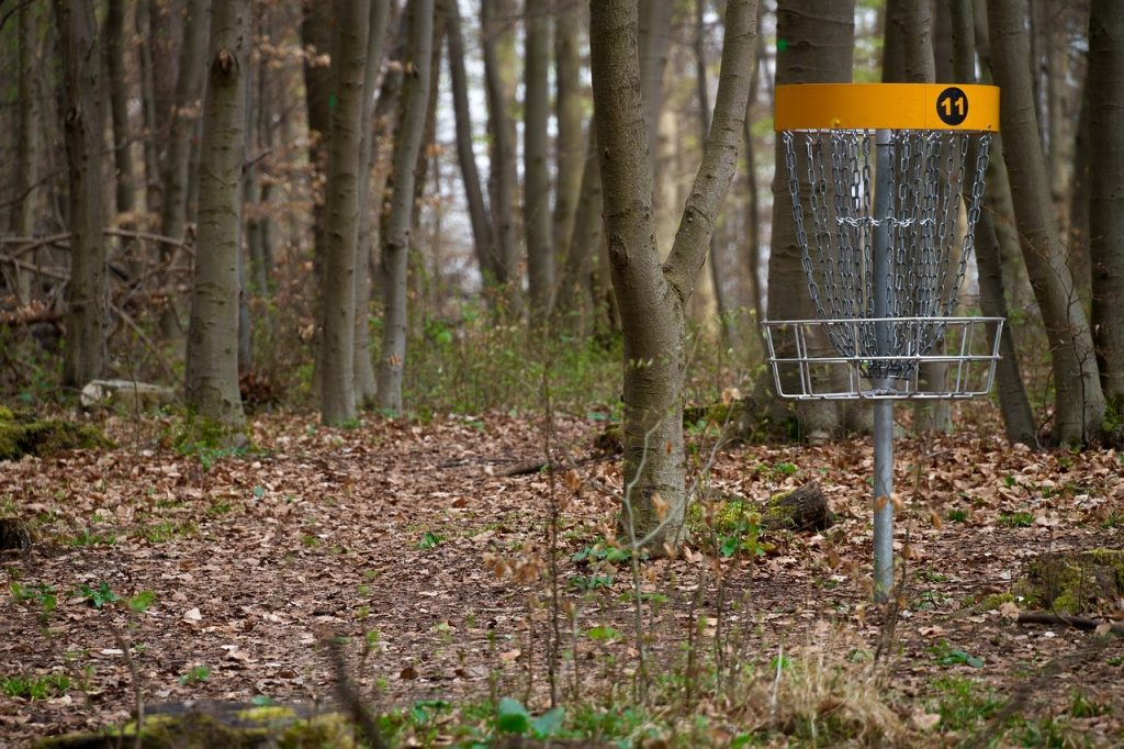 A disc golf basket in a forest.