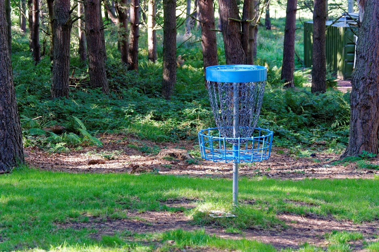 Portable disc golf basket.
