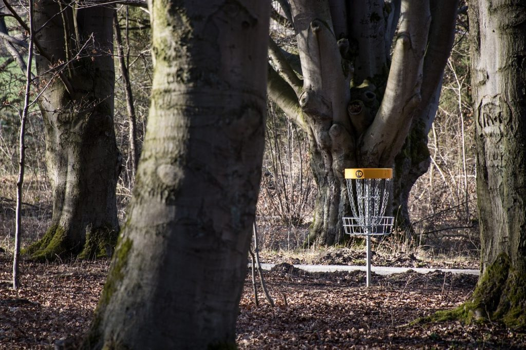 A permanent disc golf basket.