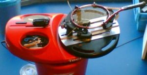 Electric tennis stringing machine.