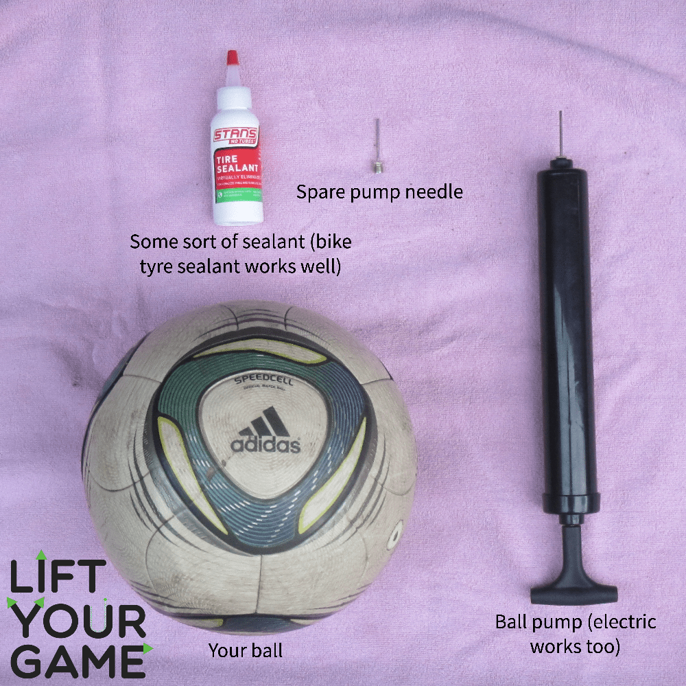 Things you'll need to fix a soccer ball bladder.