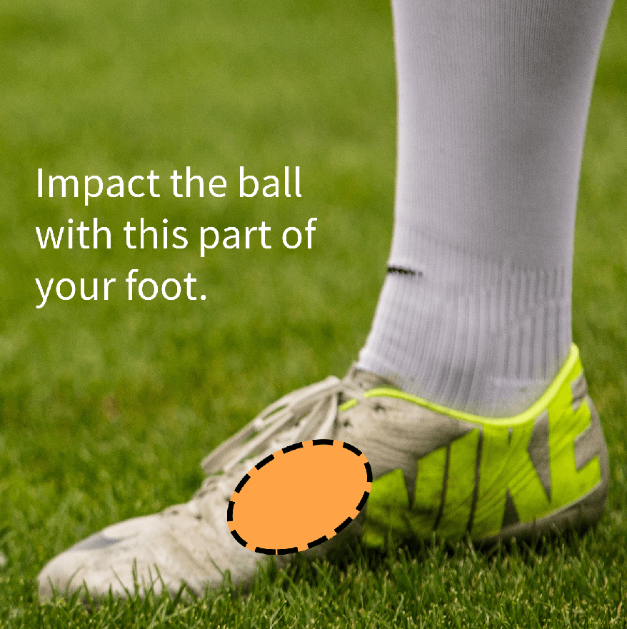 Where to strike the ball with your foot when shooting a knuckleball.