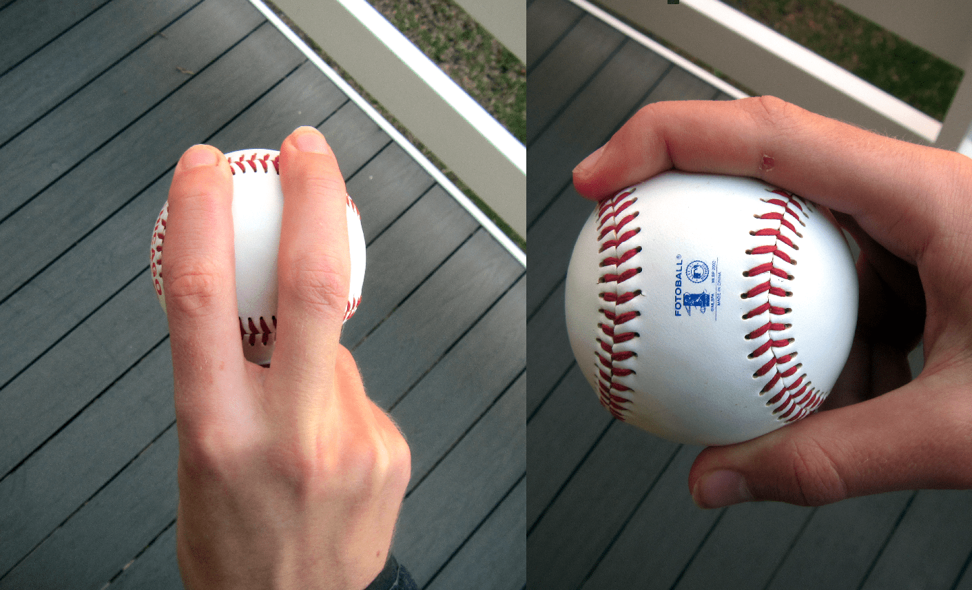 Four-seam fastball grip.