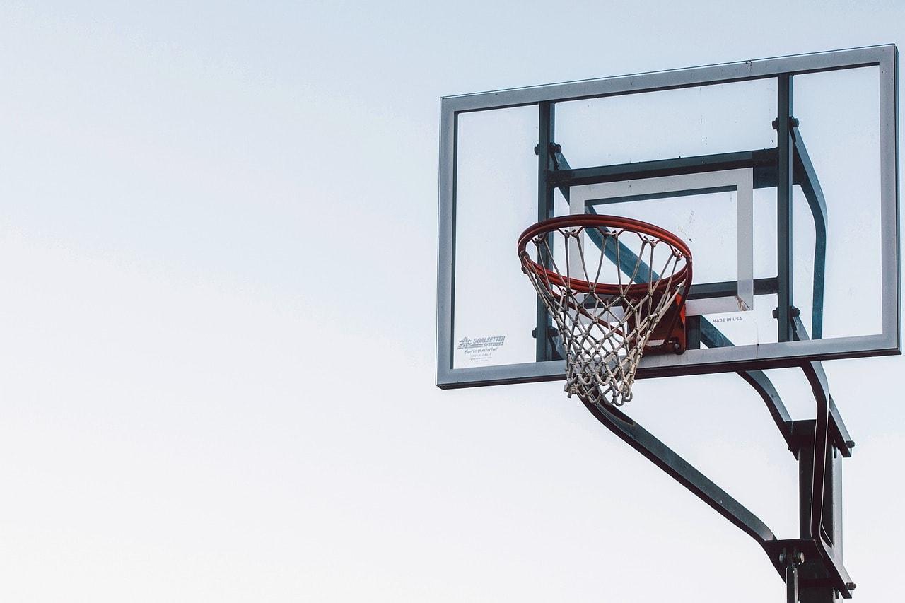 In ground basketball hoop.