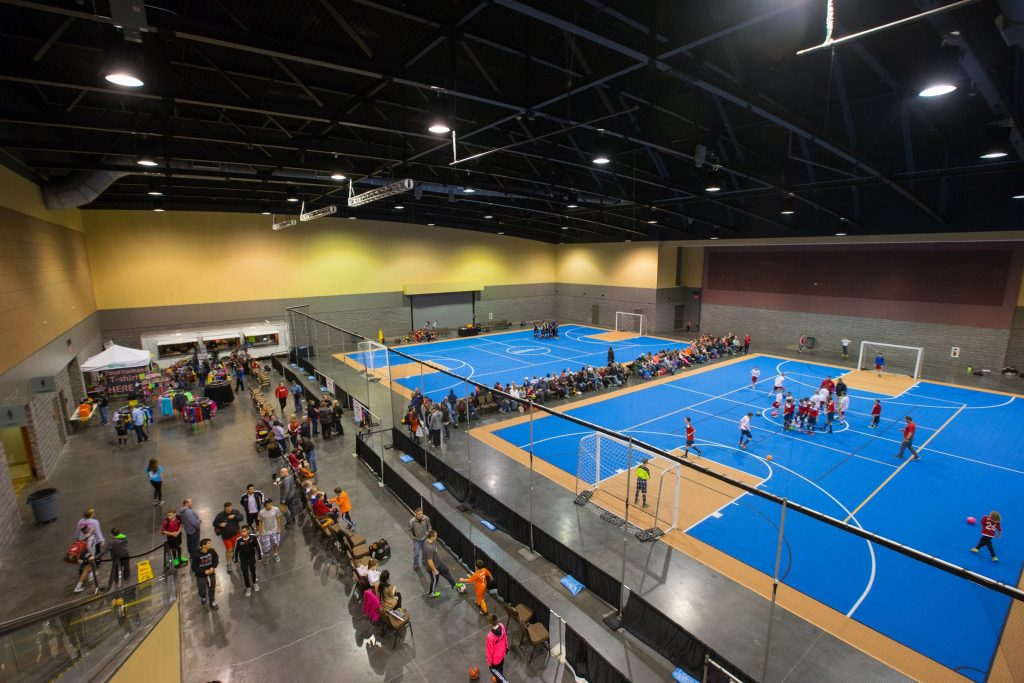 An indoor soccer court.