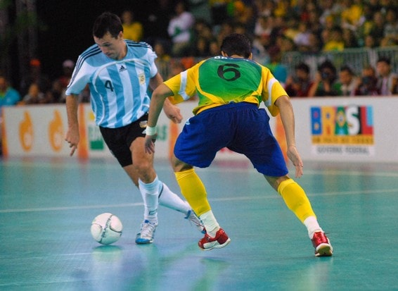 A professional indoor soccer match.