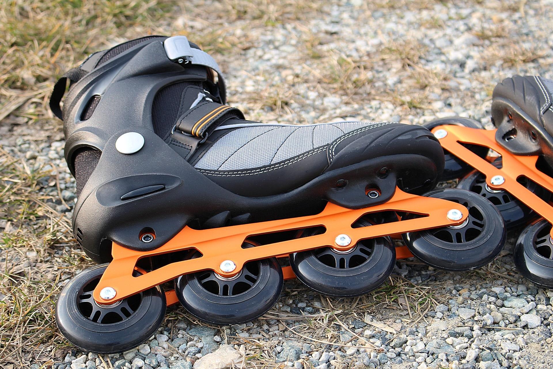 Inline roller skate.