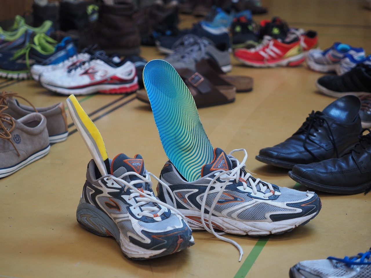 Sports insoles inside sneakers.