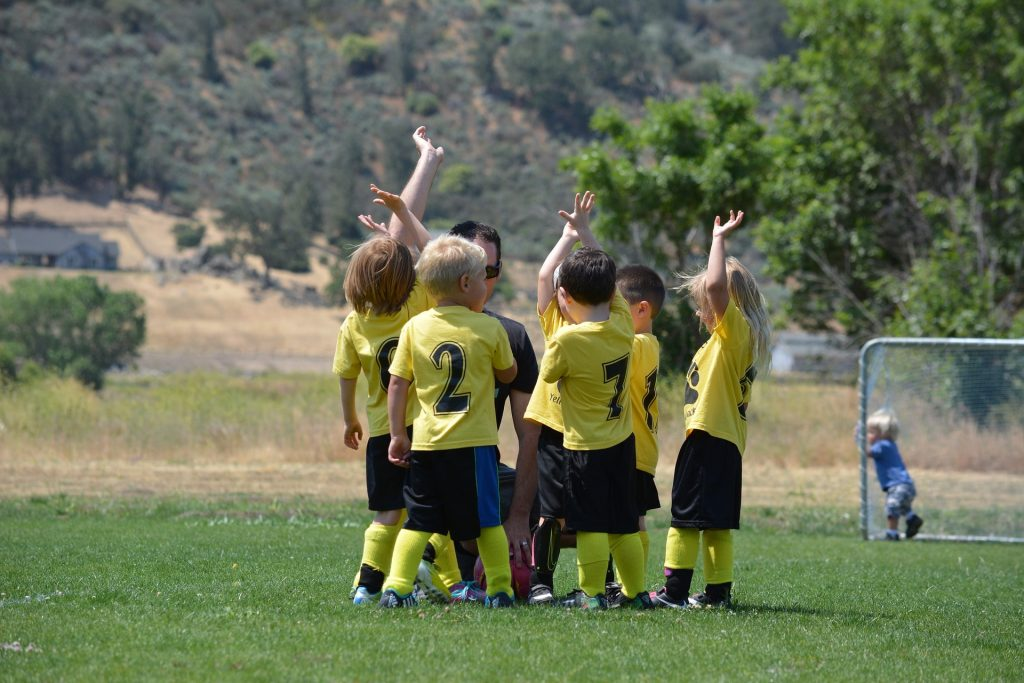Kids soccer team.