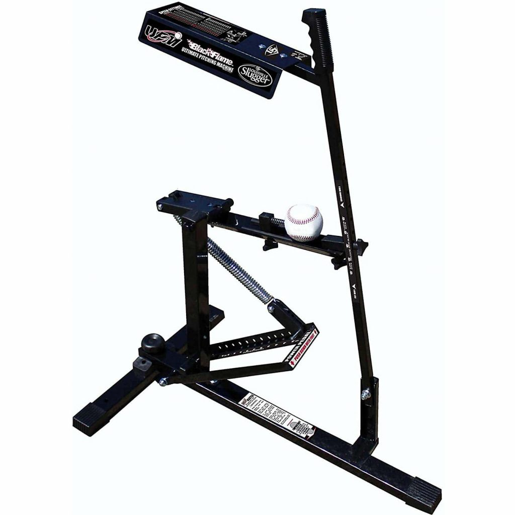 Louisville slugger black flame baseballl pitching machine.