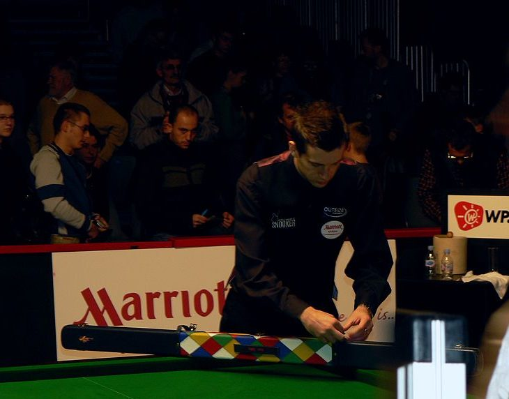 Mark Selby with his snooker cue case.