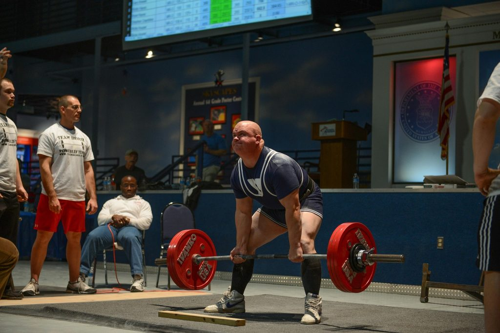 Weightlifter performing a deadlift.
