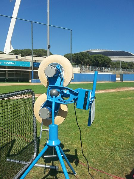 A baseball pitching machine.