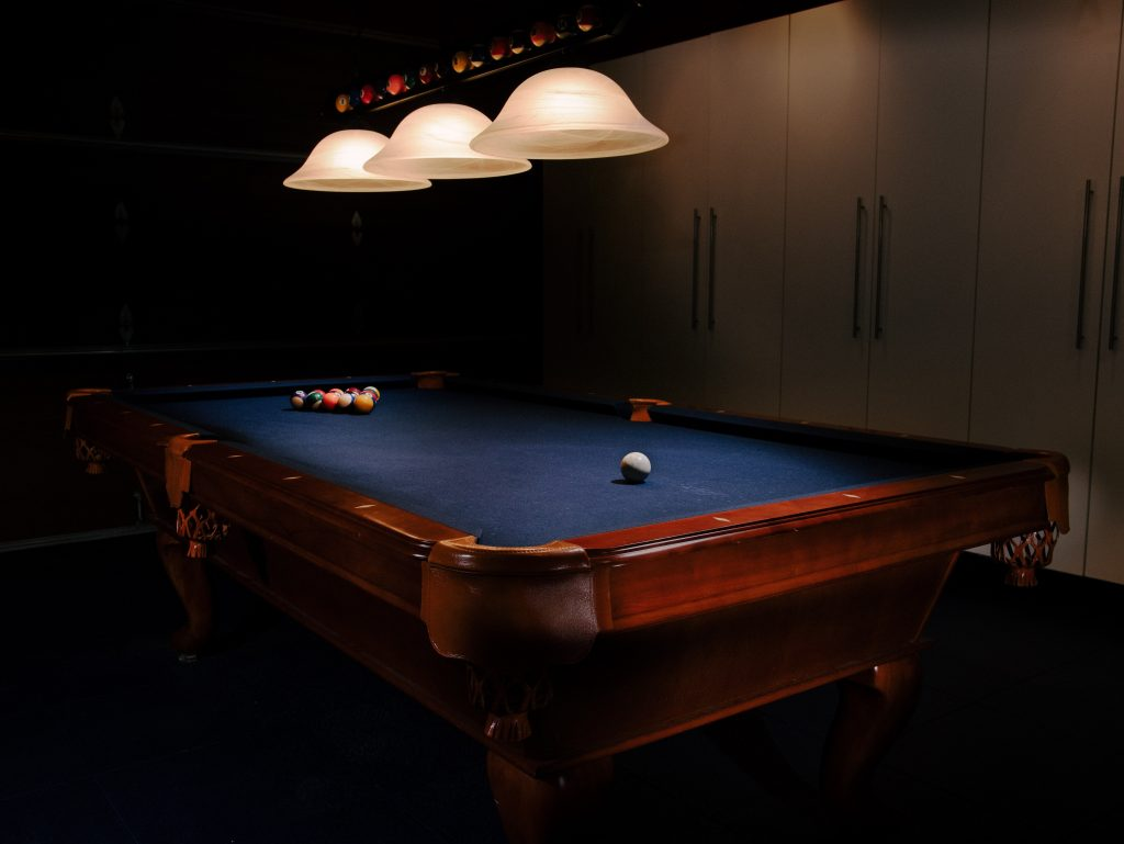 An example of a finished pool table.