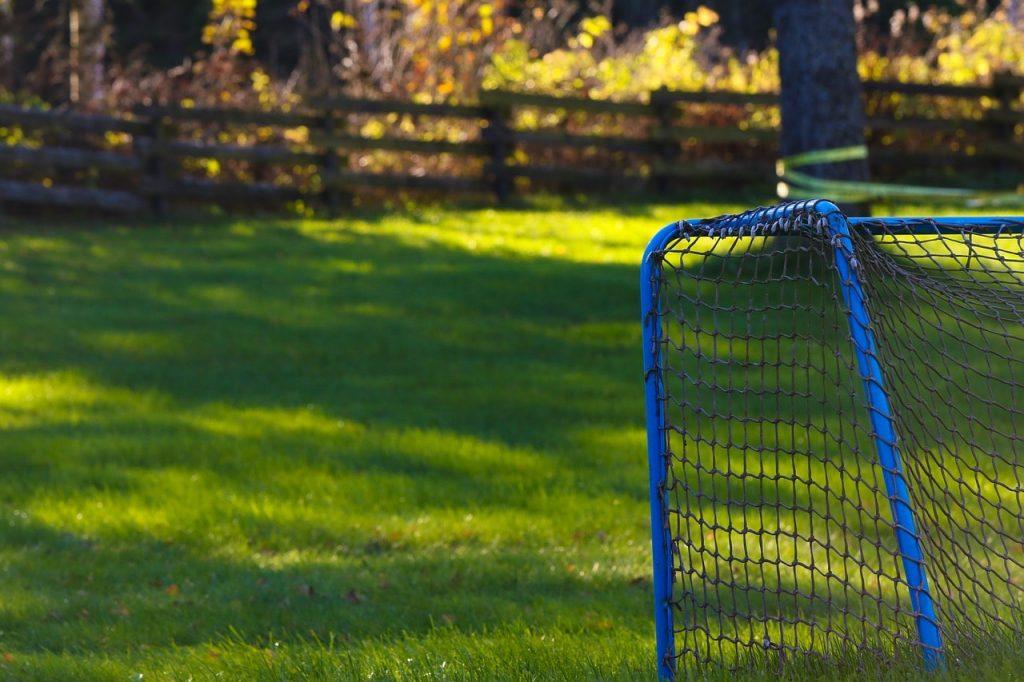 Portable soccer goal.