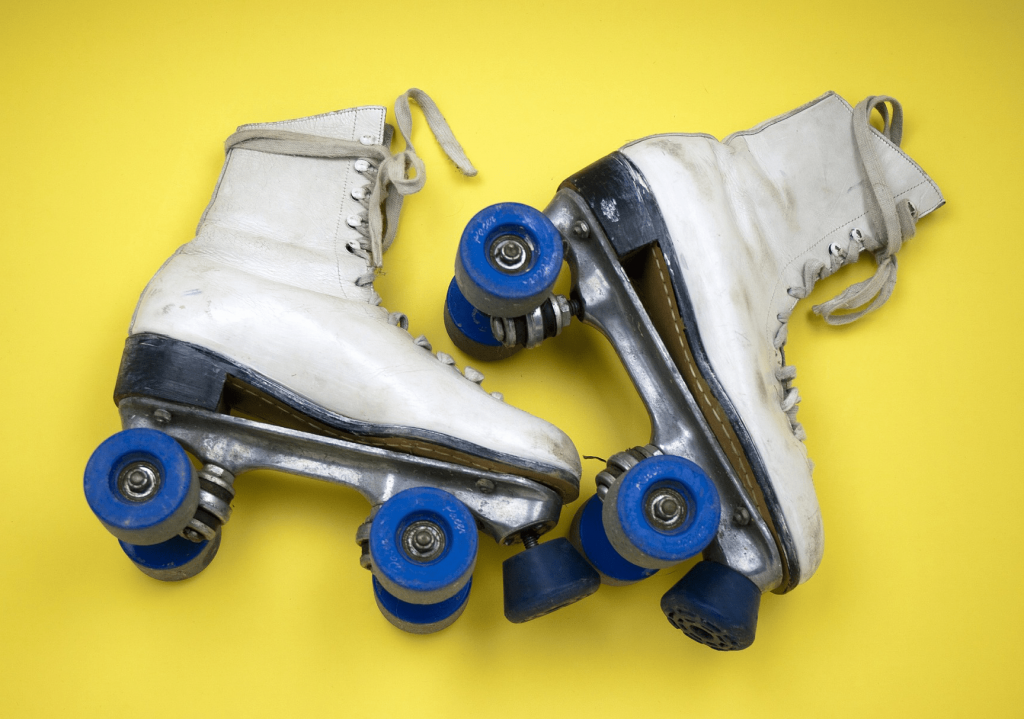 Quad roller skates with outdoor wheels.