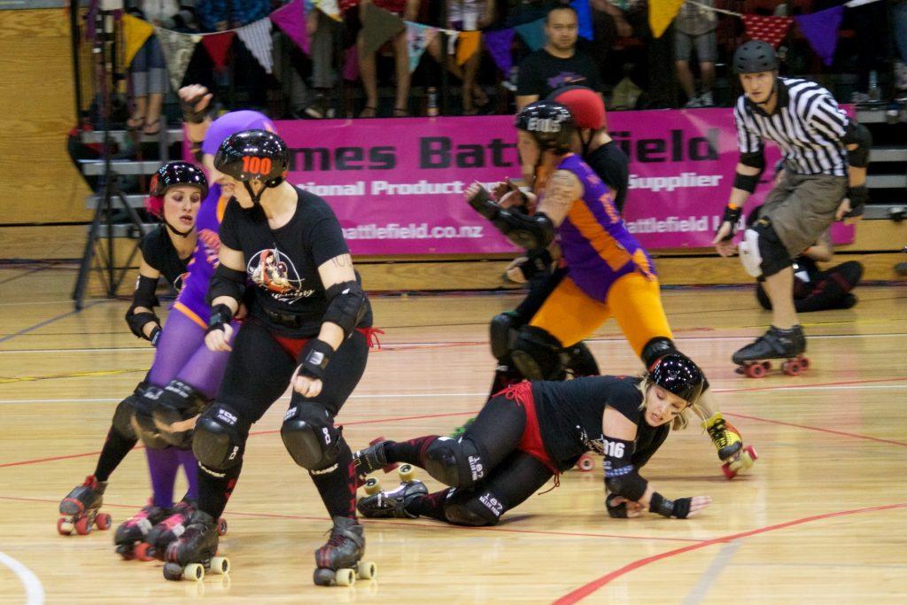 A roller derby match.