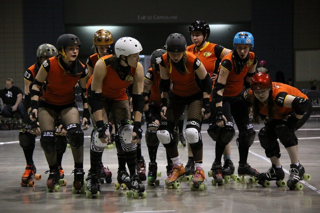 Roller derby players at the beginning of a jam.