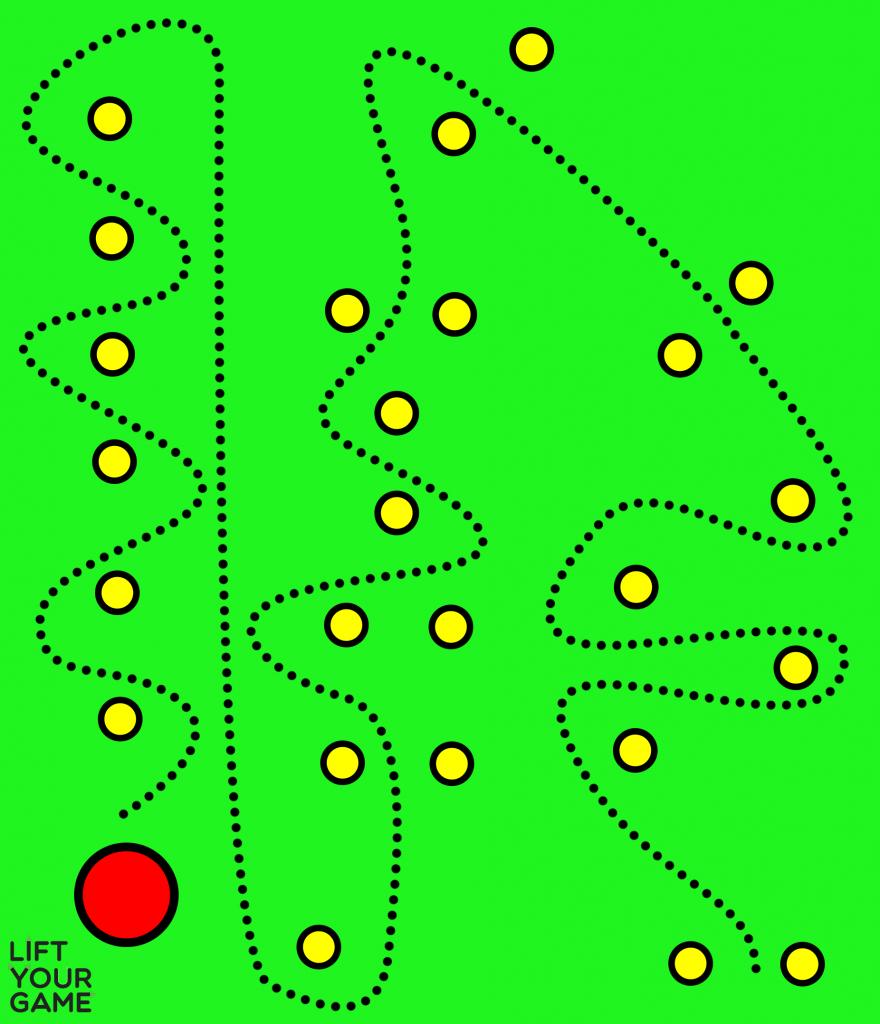 Soccer slaloms dribbling drill.