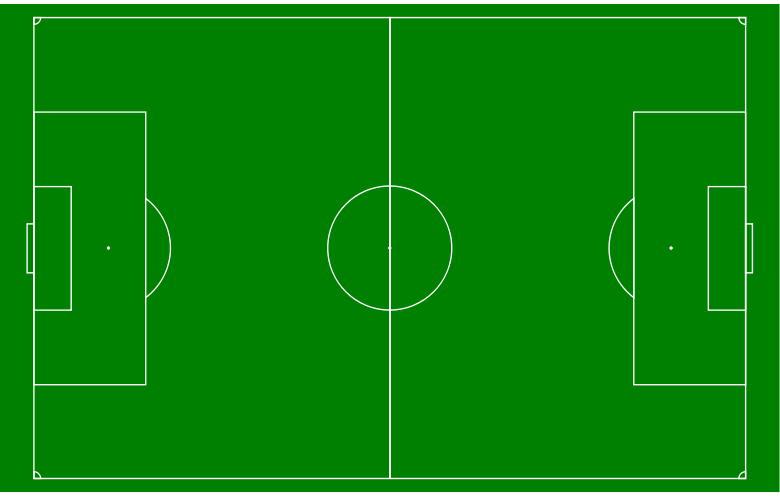Soccer pitch with markings.