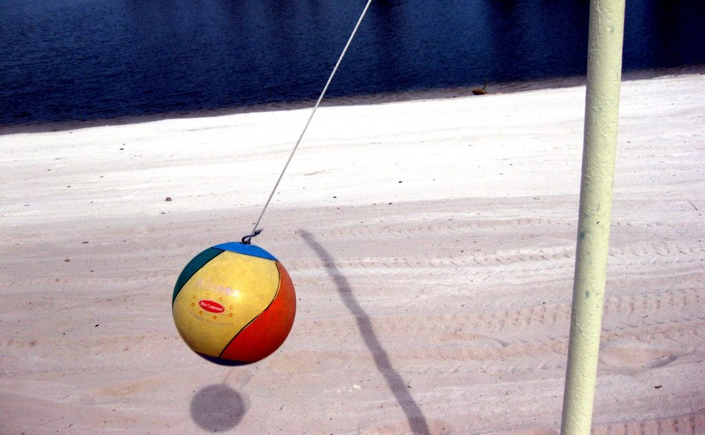 Tetherball being played.