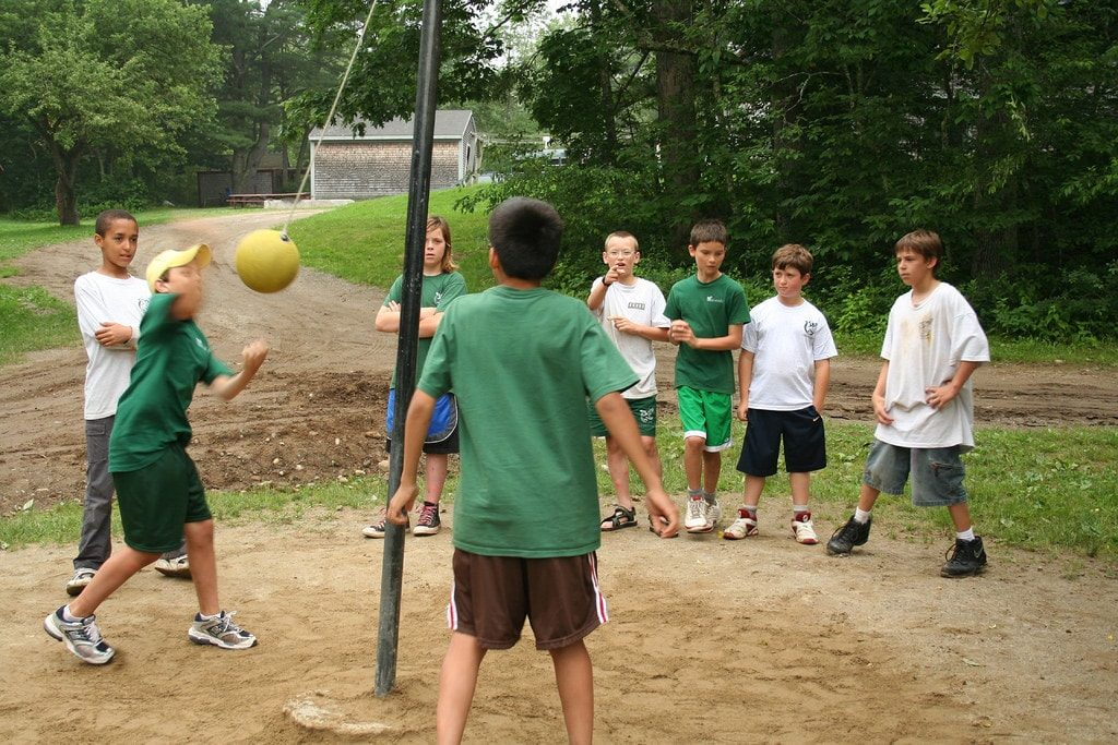 A match of tetherball being played.