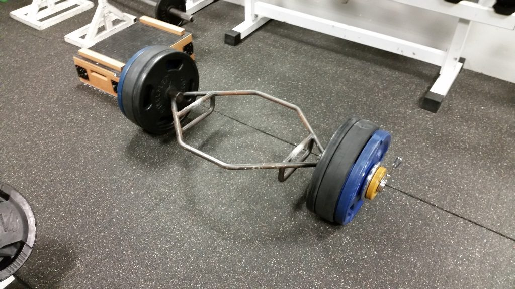 Hex bar used for deadlifts.