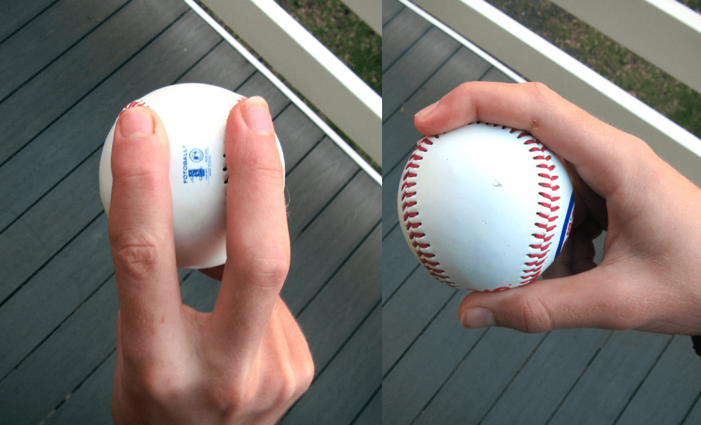 Two-seam fastball grip.