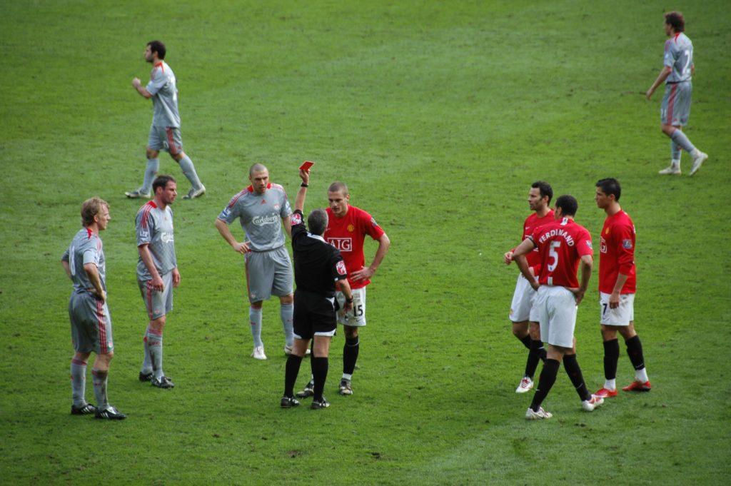 Nemanja Vidic red card versus Liverpool.