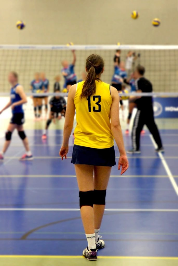 Volleyball player wearing knee pads.