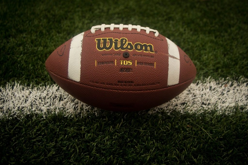 Wilson football on turf.
